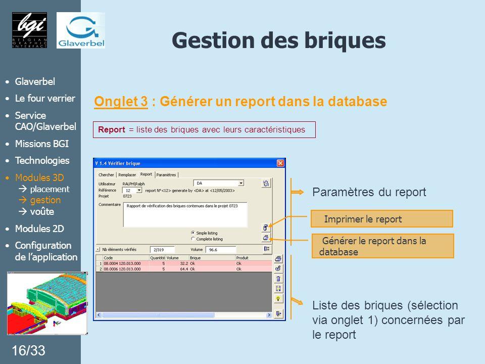 Gestion des briques Onglet 3 : Générer un report dans la database