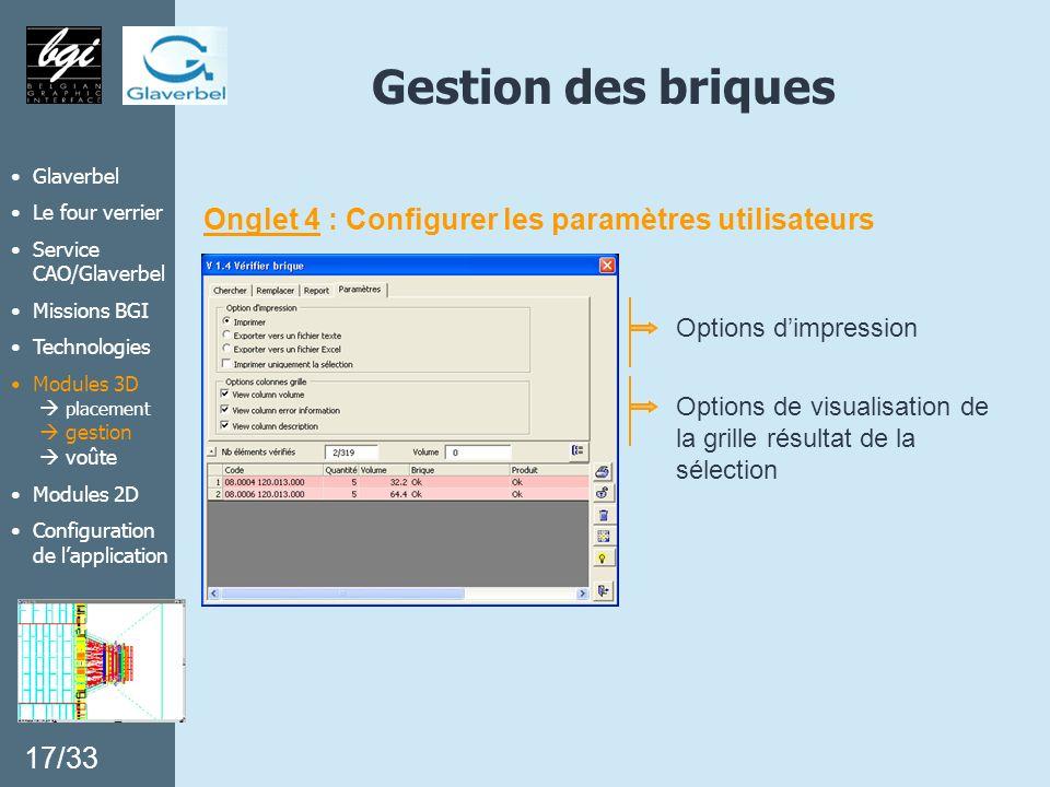 Gestion des briques Onglet 4 : Configurer les paramètres utilisateurs