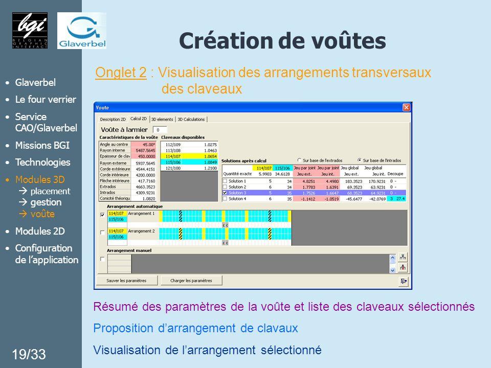 Création de voûtes Onglet 2 : Visualisation des arrangements transversaux. des claveaux. Glaverbel.
