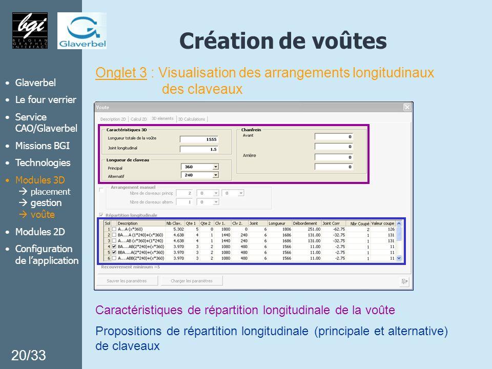 Création de voûtes Onglet 3 : Visualisation des arrangements longitudinaux. des claveaux. Glaverbel.