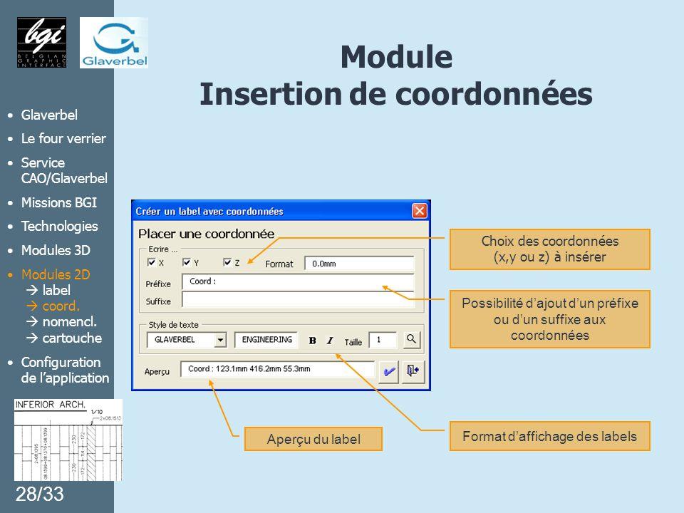 Module Insertion de coordonnées