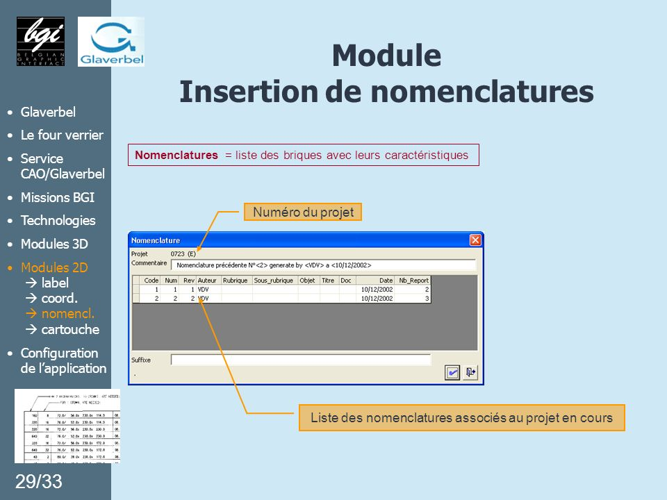 Module Insertion de nomenclatures