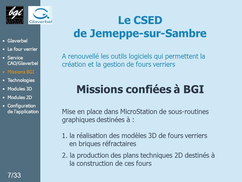 Le CSED de Jemeppe-sur-Sambre Missions confiées à BGI