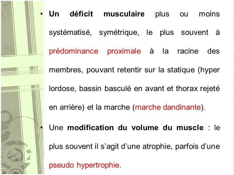 Un déficit musculaire plus ou moins systématisé, symétrique, le plus souvent à prédominance proximale à la racine des membres, pouvant retentir sur la statique (hyper lordose, bassin basculé en avant et thorax rejeté en arrière) et la marche (marche dandinante).