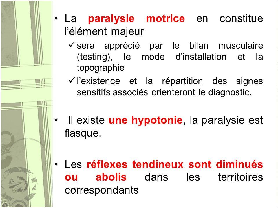 La paralysie motrice en constitue l'élément majeur