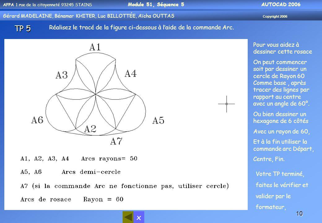 TP 5 Réalisez le tracé de la figure ci-dessous à l'aide de la commande Arc. Pour vous aidez à dessiner cette rosace.