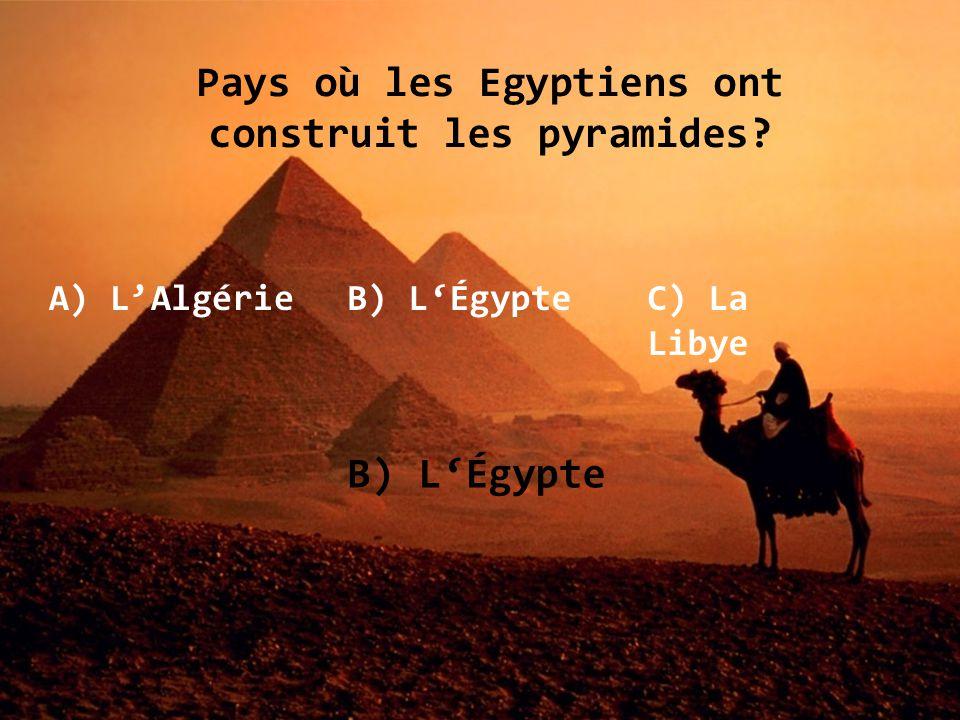 Pays où les Egyptiens ont construit les pyramides