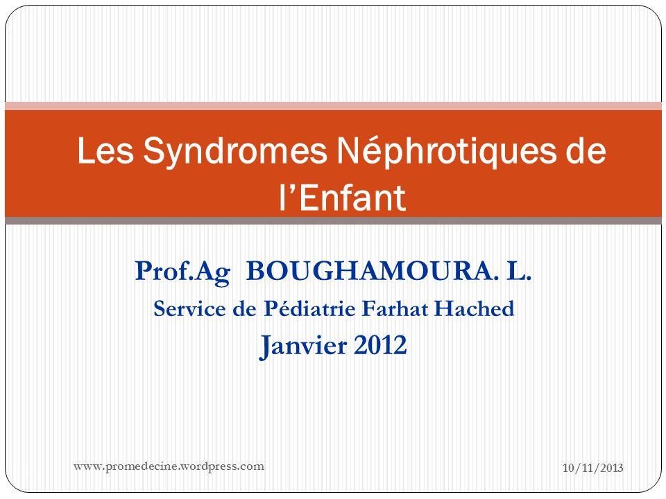 Les Syndromes Néphrotiques de l'Enfant