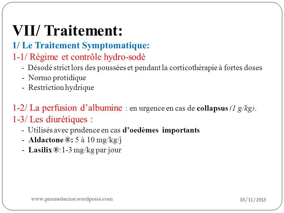 VII/ Traitement: 1/ Le Traitement Symptomatique: