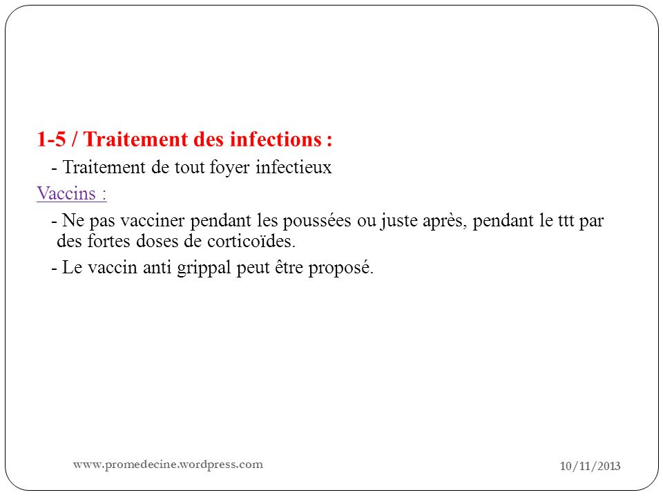 1-5 / Traitement des infections :