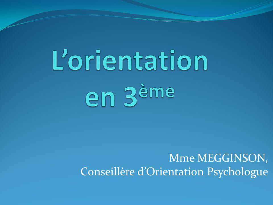 Mme MEGGINSON, Conseillère d'Orientation Psychologue