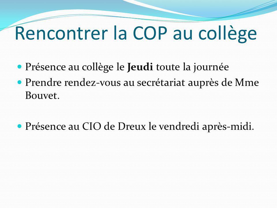 Rencontrer la COP au collège