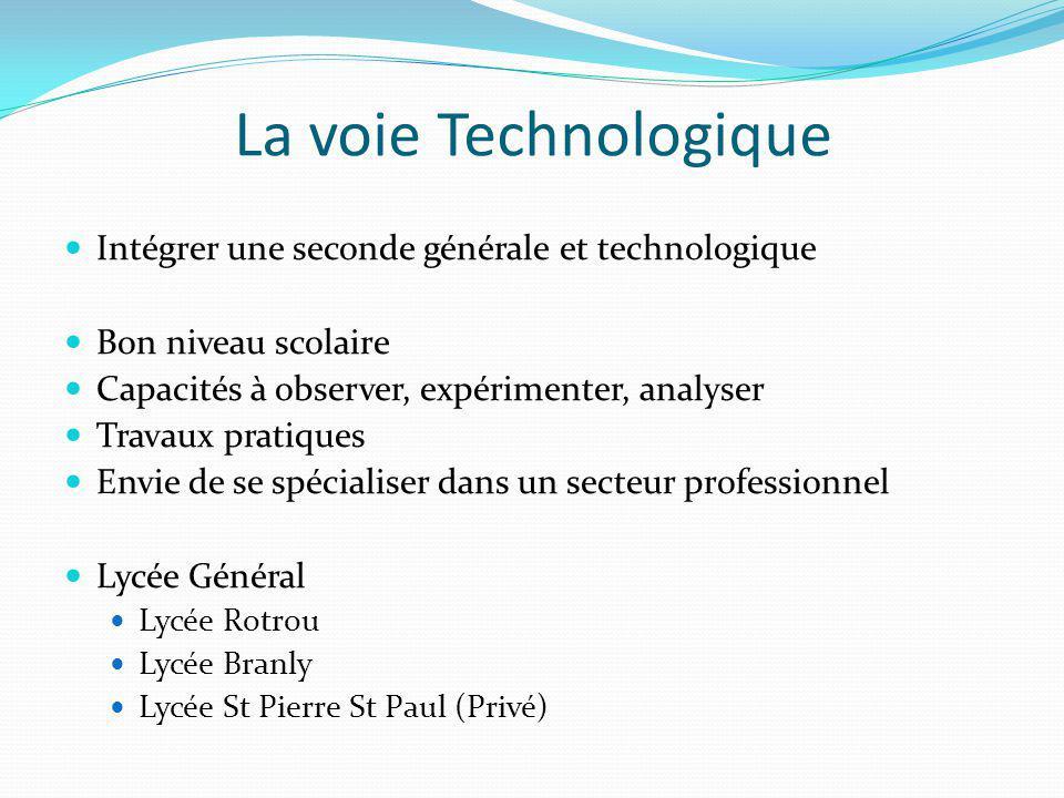 La voie Technologique Intégrer une seconde générale et technologique