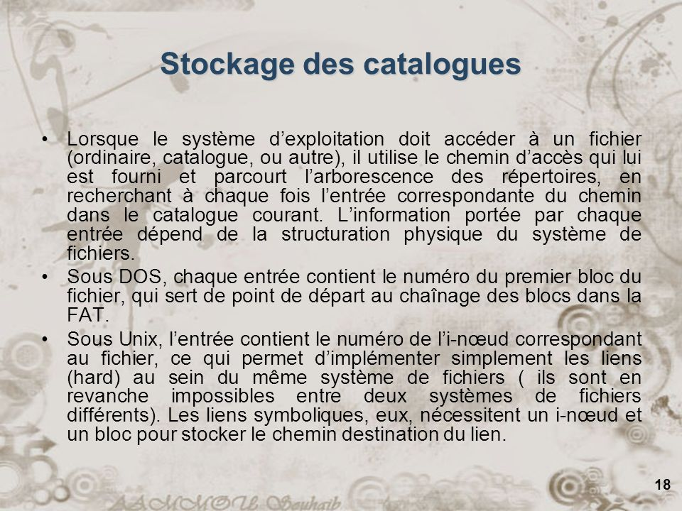 Stockage des catalogues