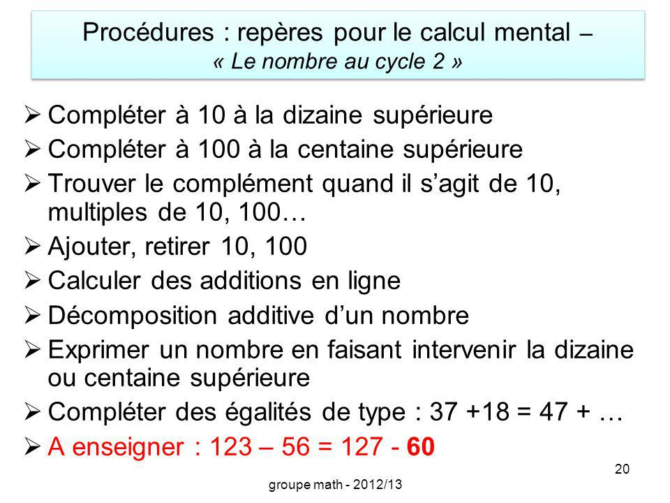 Procédures : repères pour le calcul mental – « Le nombre au cycle 2 »