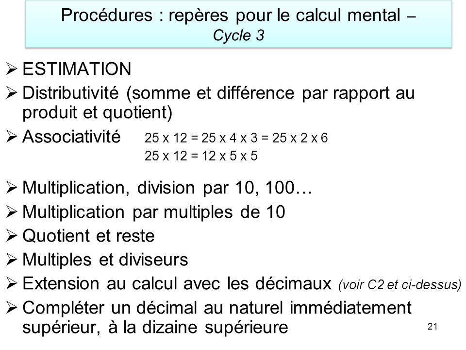 Procédures : repères pour le calcul mental – Cycle 3
