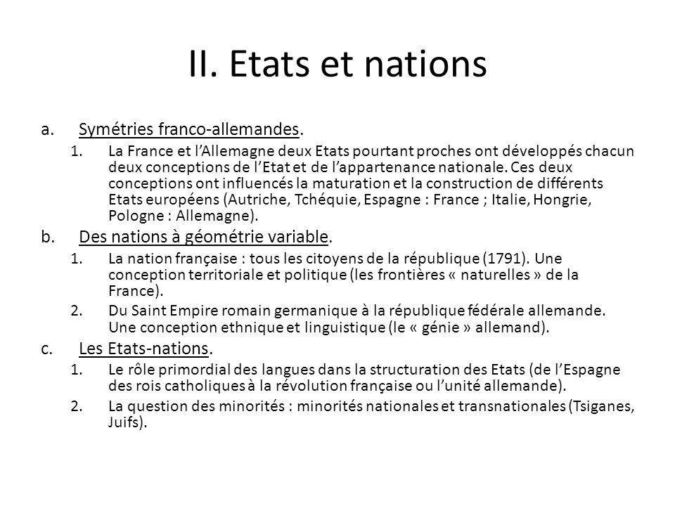 II. Etats et nations Symétries franco-allemandes.