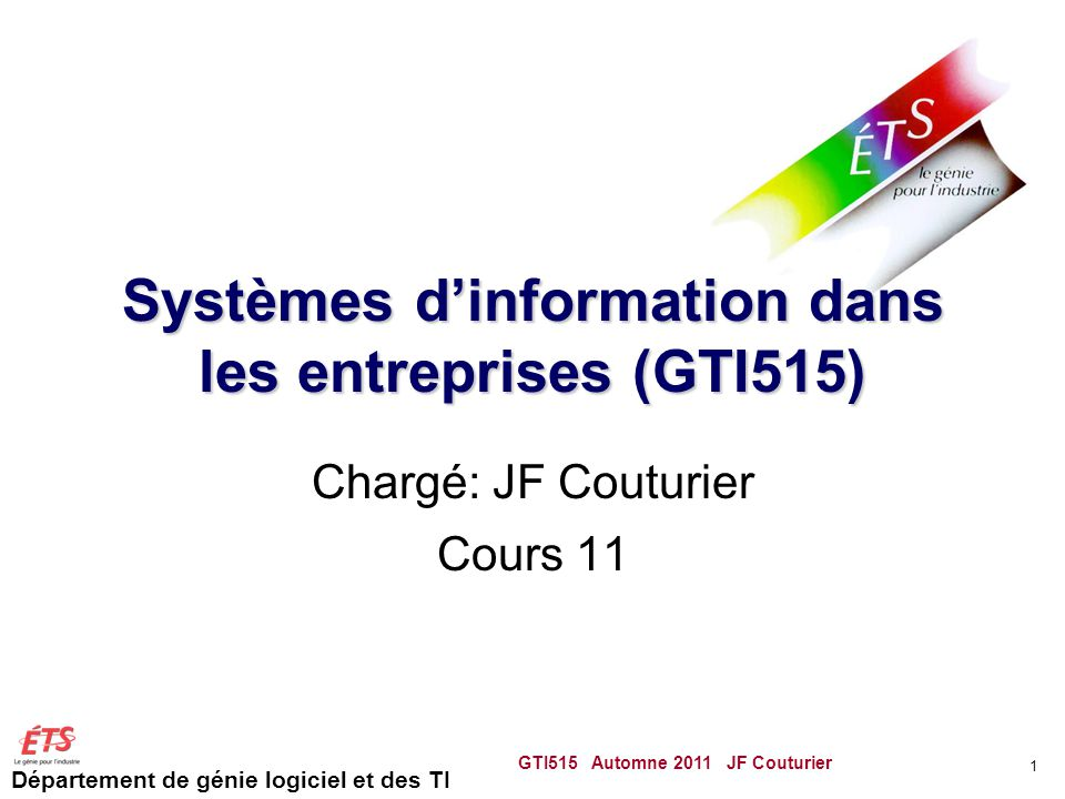 Systèmes d'information dans les entreprises (GTI515)