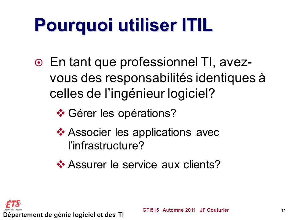 Pourquoi utiliser ITIL