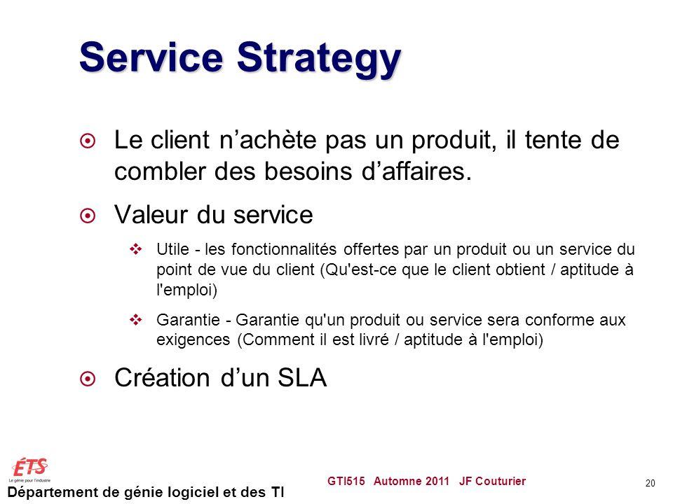 Service Strategy Le client n'achète pas un produit, il tente de combler des besoins d'affaires. Valeur du service.