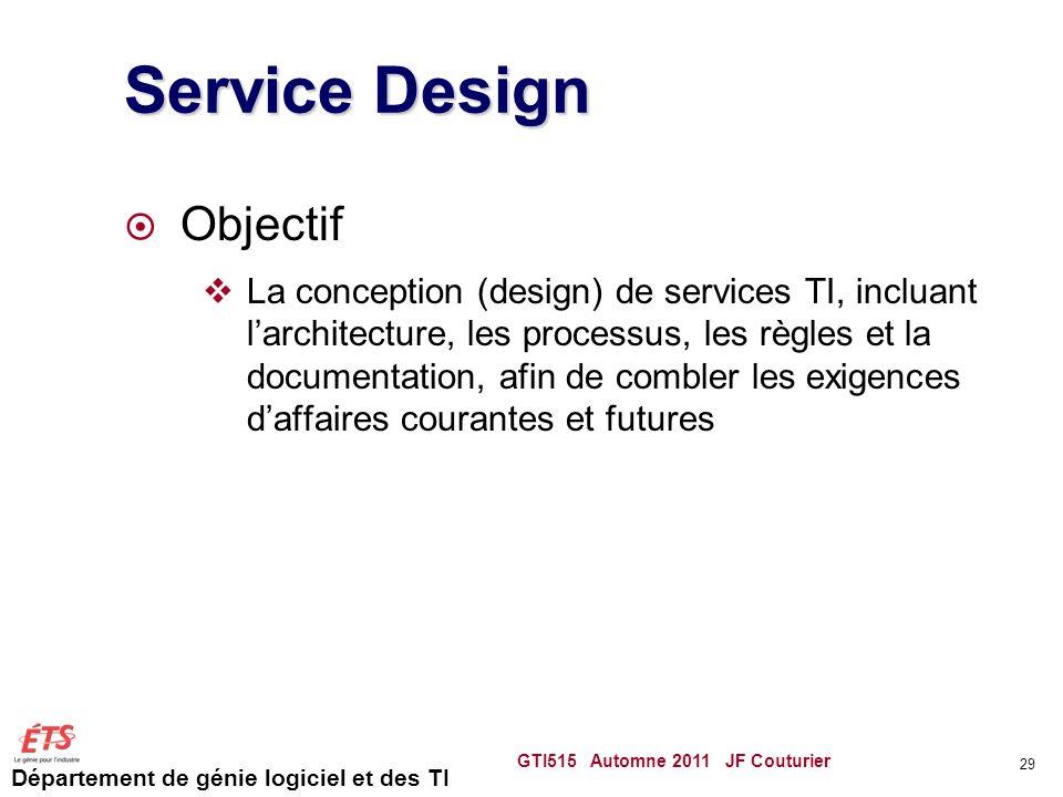 Service Design Objectif