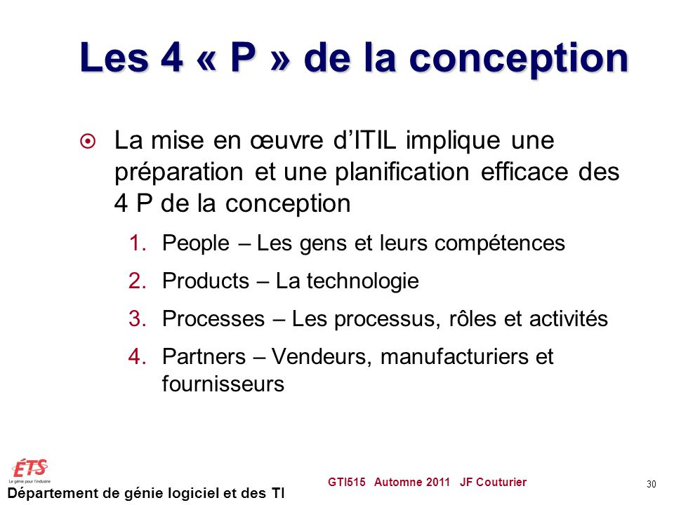 Les 4 « P » de la conception