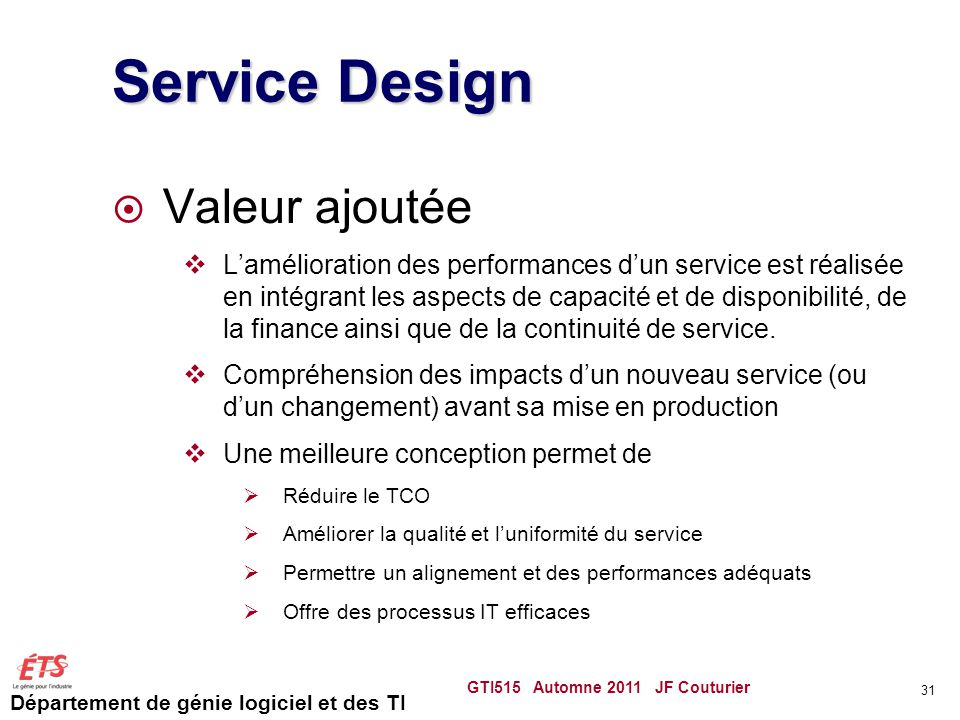 Service Design Valeur ajoutée