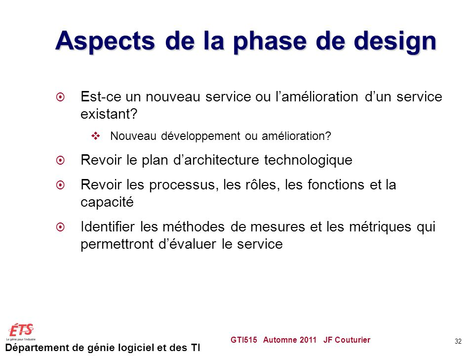 Aspects de la phase de design