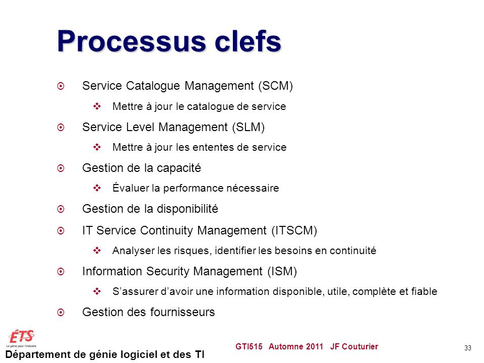 Processus clefs Service Catalogue Management (SCM)