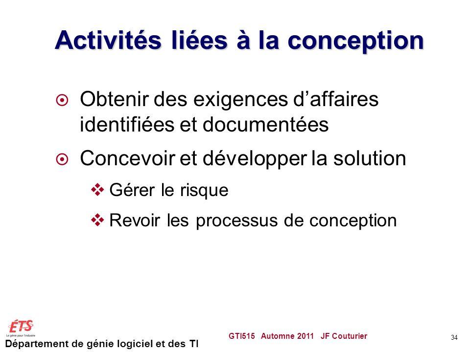 Activités liées à la conception