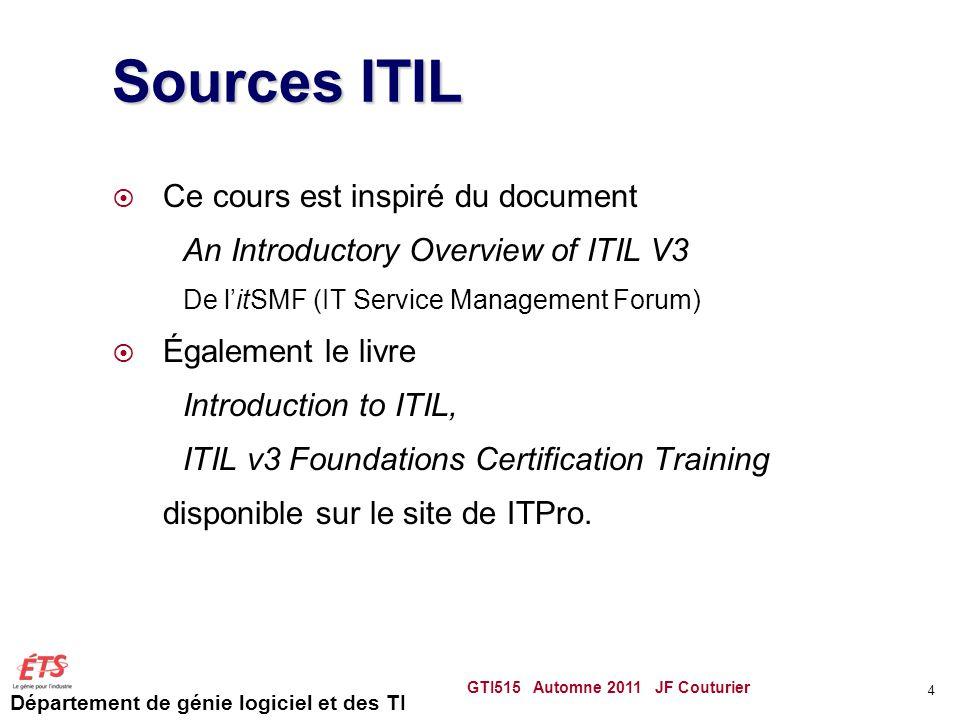 Sources ITIL Ce cours est inspiré du document