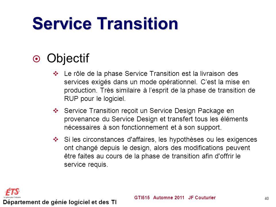 Service Transition Objectif
