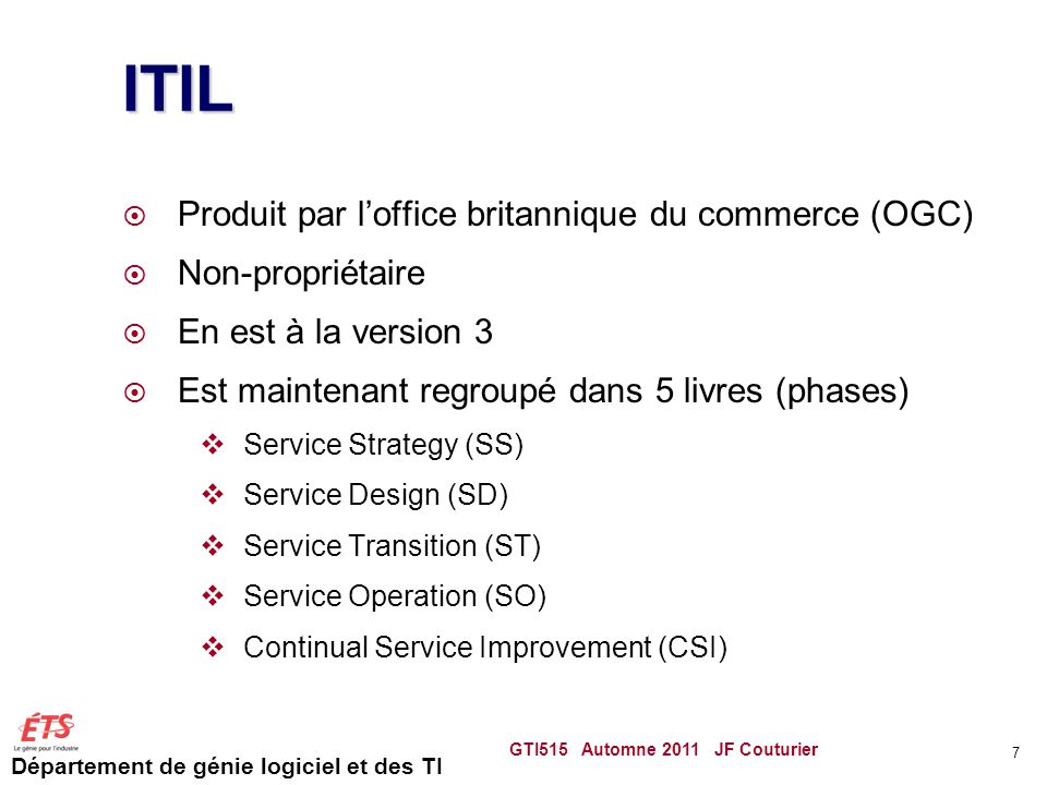 ITIL Produit par l'office britannique du commerce (OGC)