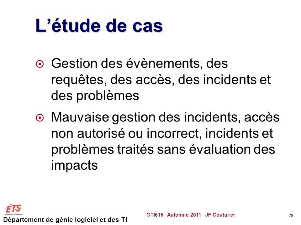 L'étude de cas Gestion des évènements, des requêtes, des accès, des incidents et des problèmes.