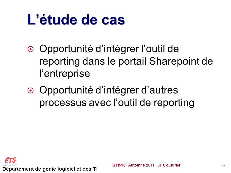 L'étude de cas Opportunité d'intégrer l'outil de reporting dans le portail Sharepoint de l'entreprise.