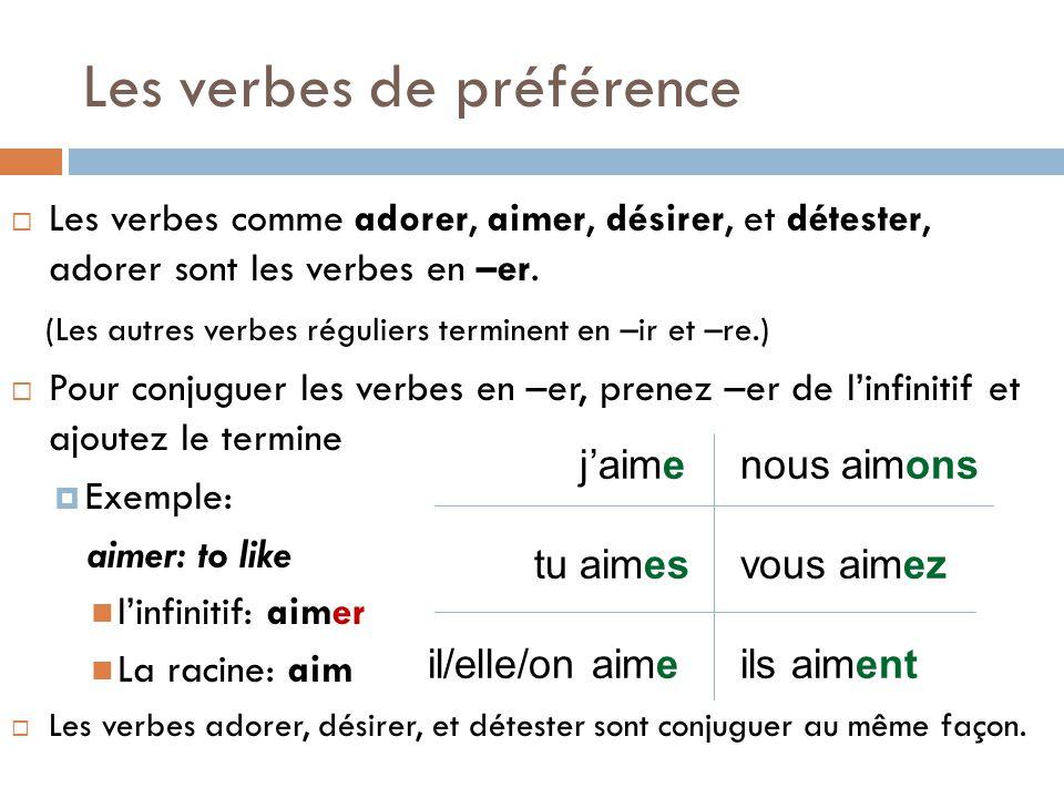 Les verbes de préférence