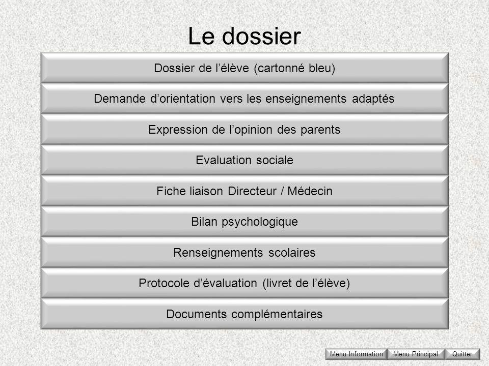 Le dossier Dossier de l'élève (cartonné bleu)