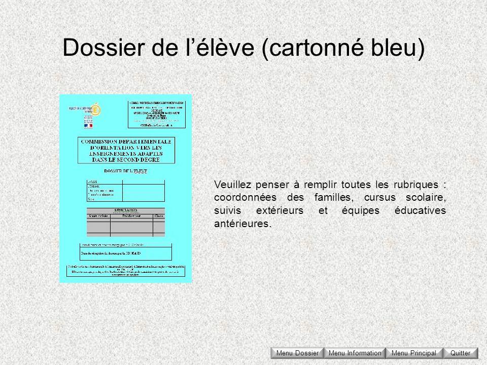 Dossier de l'élève (cartonné bleu)