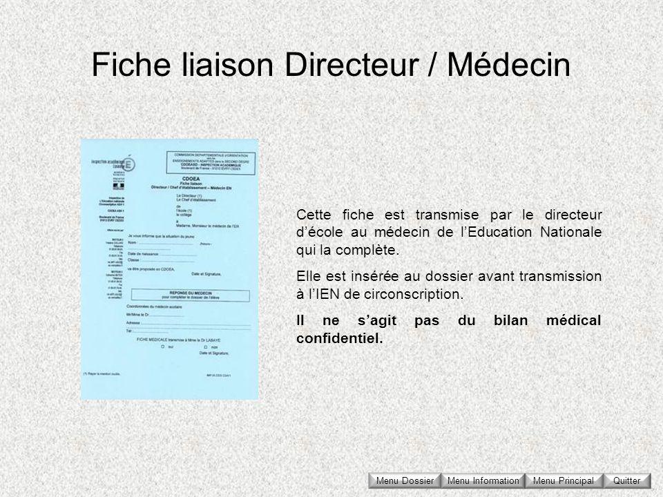 Fiche liaison Directeur / Médecin