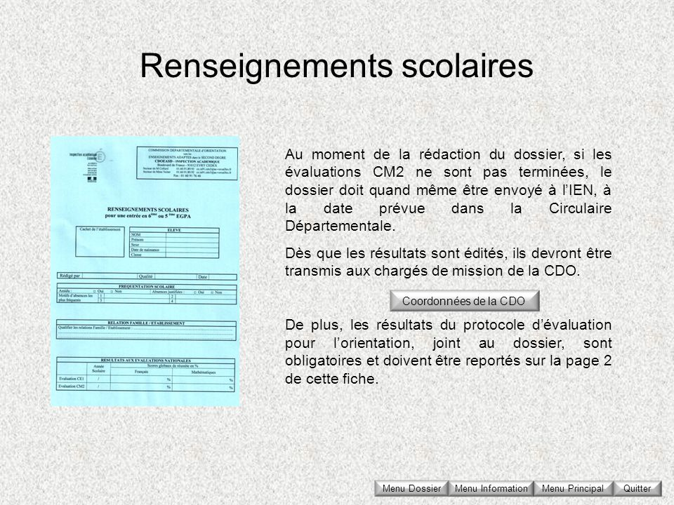 Renseignements scolaires