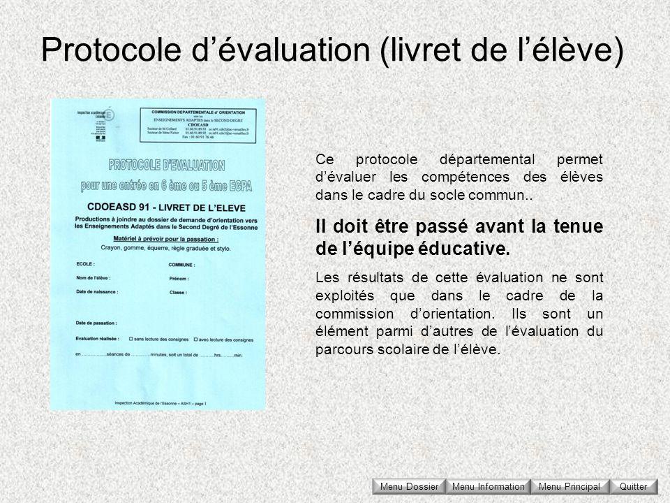 Protocole d'évaluation (livret de l'élève)
