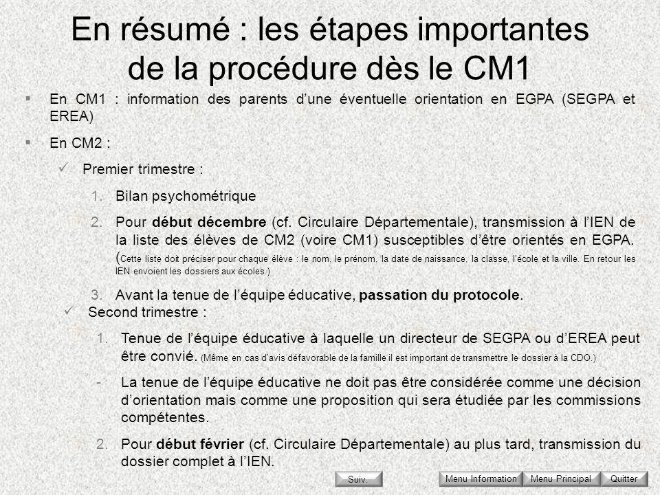 En résumé : les étapes importantes de la procédure dès le CM1