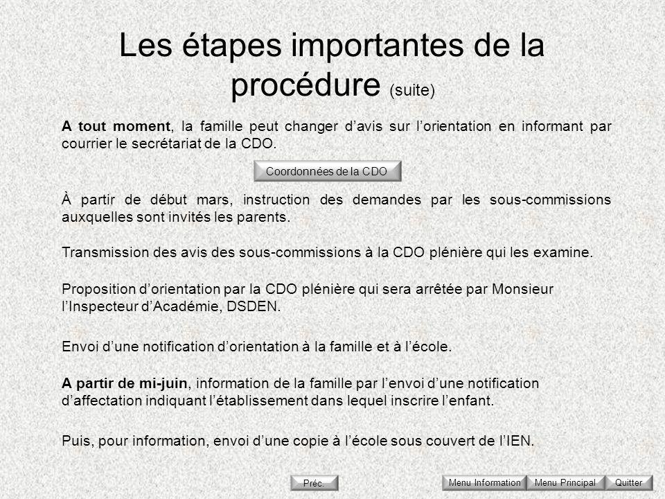 Les étapes importantes de la procédure (suite)