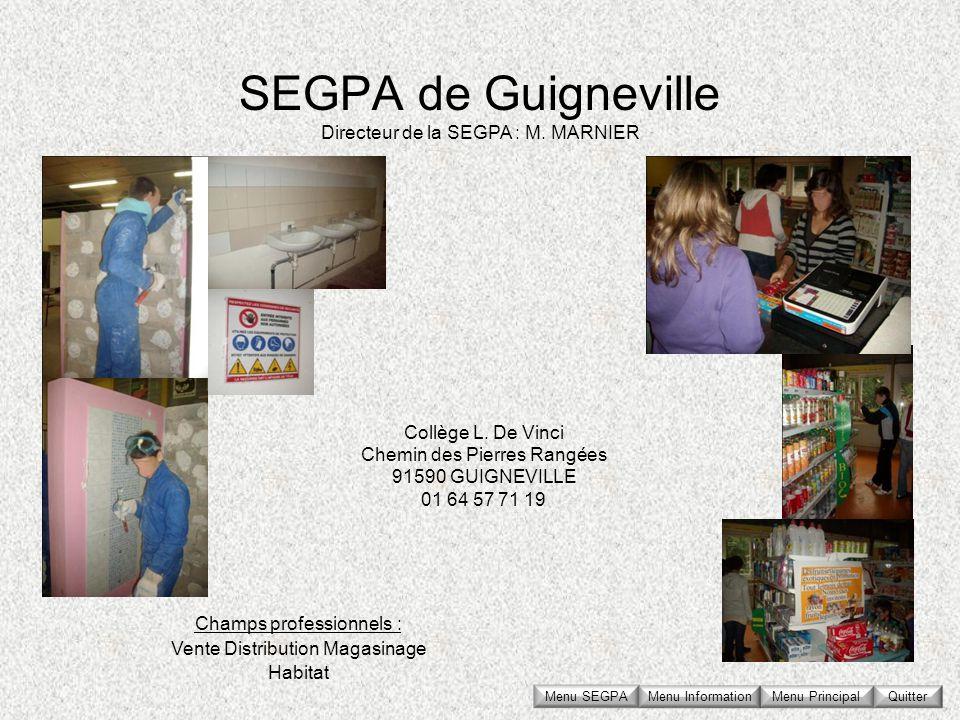 SEGPA de Guigneville Directeur de la SEGPA : M. MARNIER