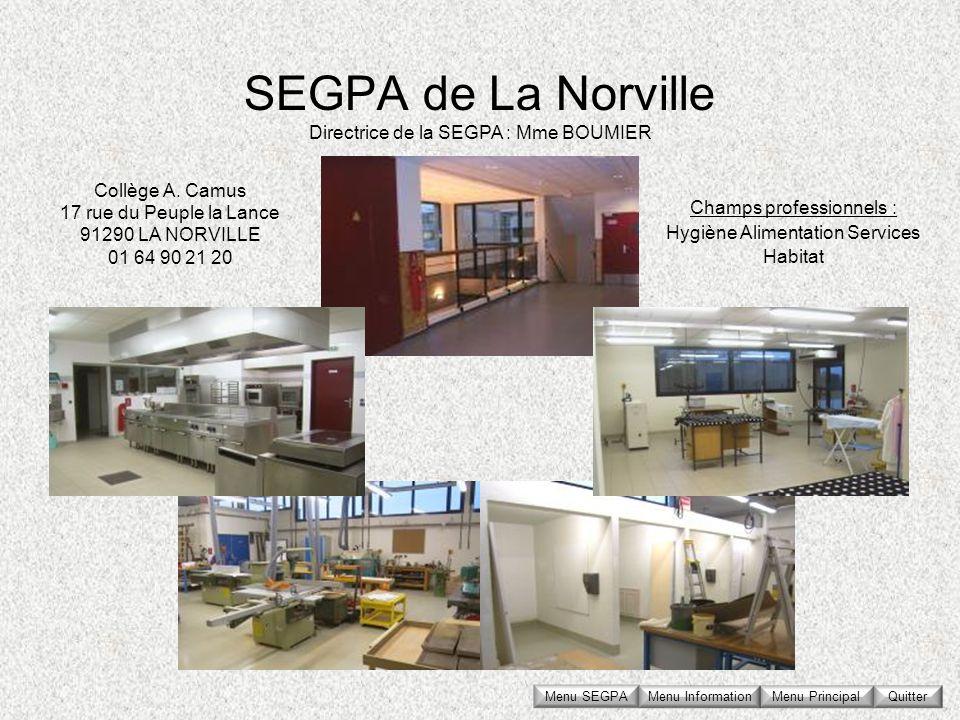 SEGPA de La Norville Directrice de la SEGPA : Mme BOUMIER