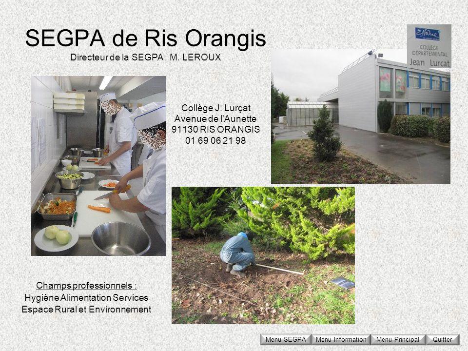 Collège J. Lurçat Avenue de l'Aunette 91130 RIS ORANGIS 01 69 06 21 98