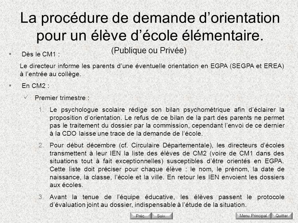 La procédure de demande d'orientation pour un élève d'école élémentaire.