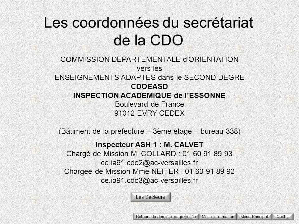 Les coordonnées du secrétariat de la CDO