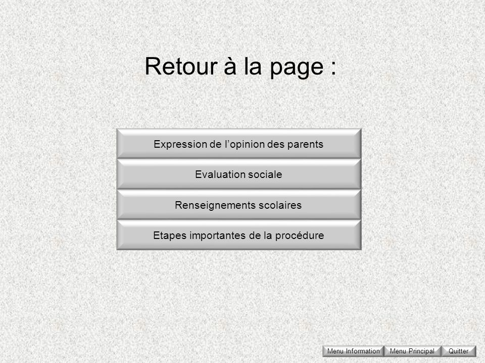 Retour à la page : Expression de l'opinion des parents