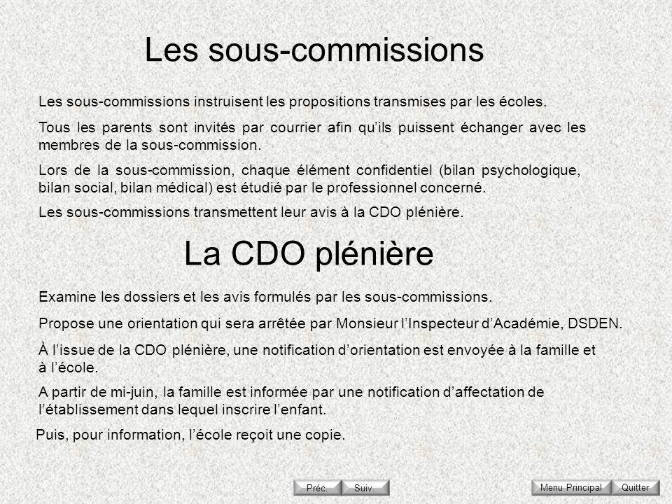 Les sous-commissions La CDO plénière
